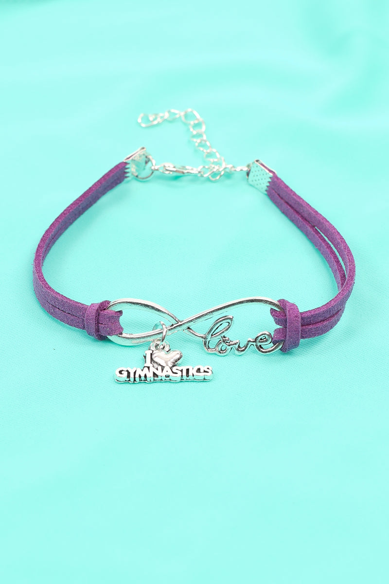 Purple Love Gymnastics Infinity Bracelet