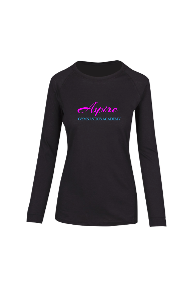 Aspire Long Sleeve Black Tee