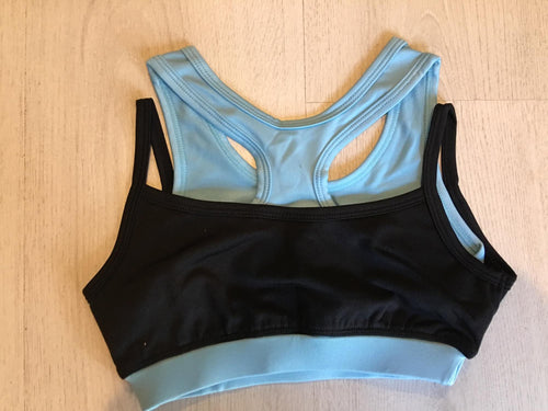BFCN- Double Crop Tops - Black/Blue