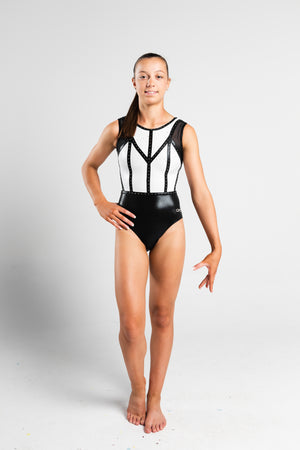GMD Activewear Australia Empire Gymnastics Black & White Leotard