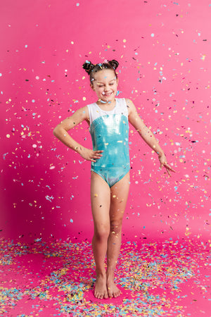 GMD Activewear Australia Pearl Mint Gymnastics Leotard with open back