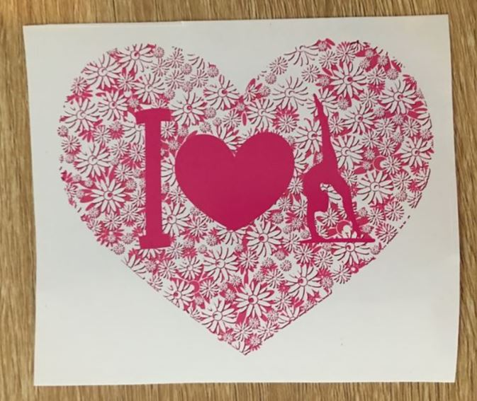 Sticker -  I heart Gymnastics - Pink flower