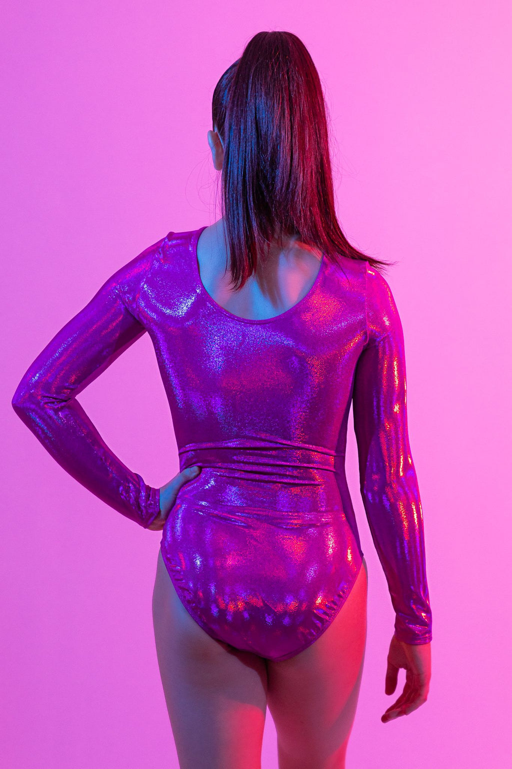 Holo Magenta Long Sleeve Leotard