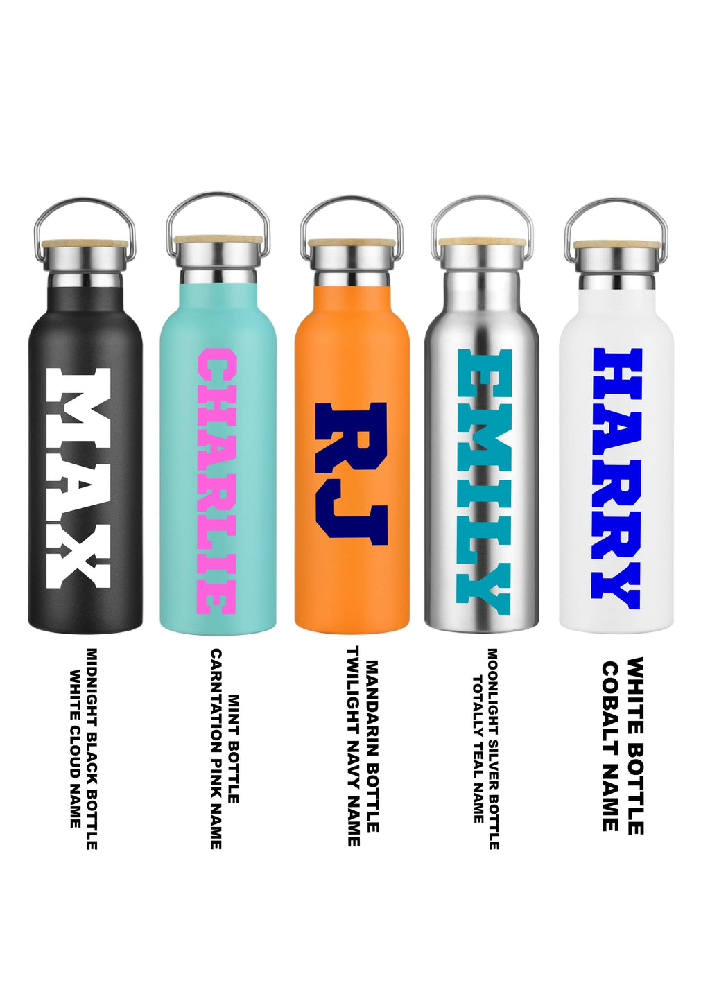 Personalised Thermo Double Wall Drink Bottle- Block print