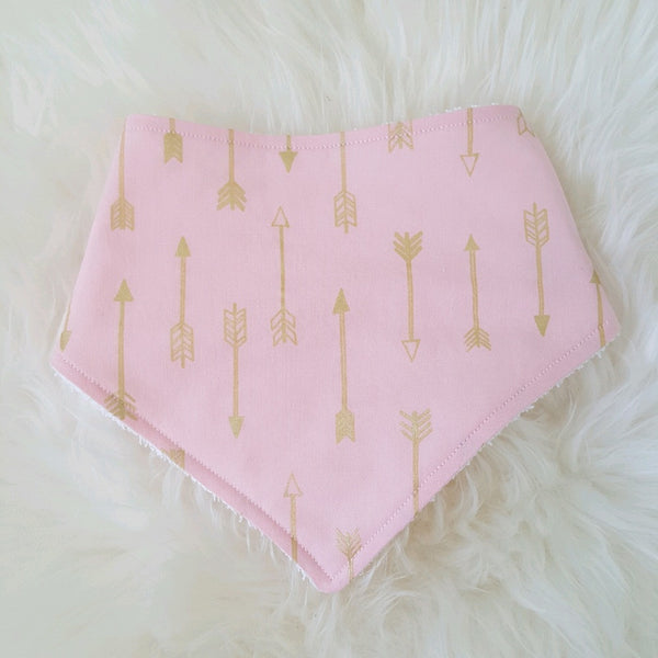 Pink with Gold Arrows Bandana Bib - Lullaby Riot