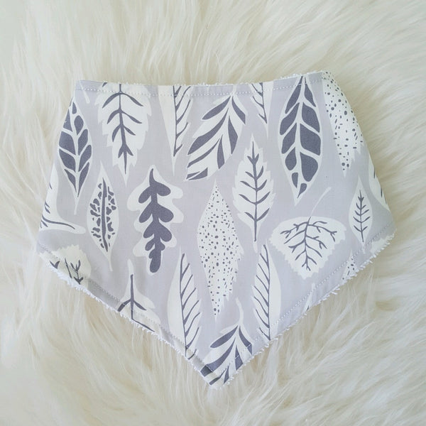 Grey Autumn Leaves Bandana Bib - Lullaby Riot