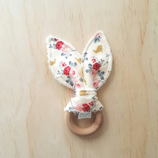 Rose and Rabbit Wooden Teether - Lullaby Riot
