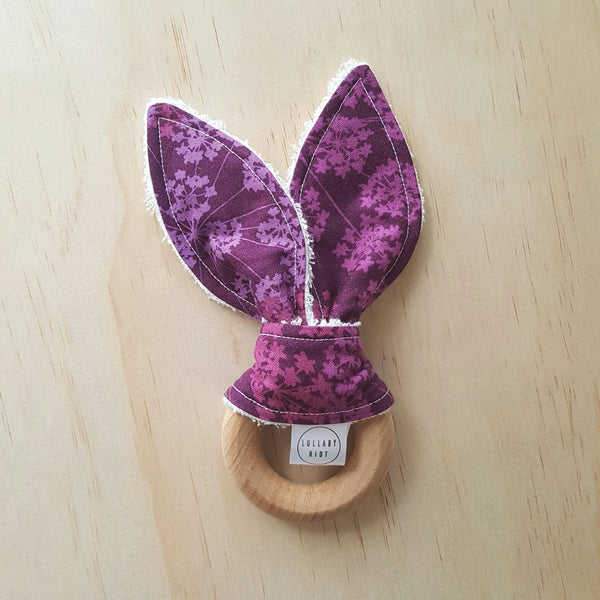 Purple Floral Wooden Teether - Lullaby Riot