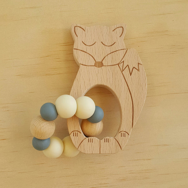 Sleepy Fox Silicone and Beech Wood Rattle Teether - Lullaby Riot