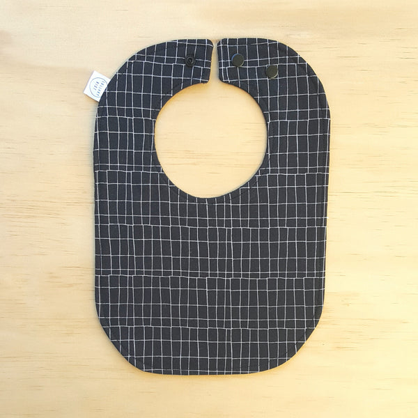 Black Grid Baby Bib - Lullaby Riot