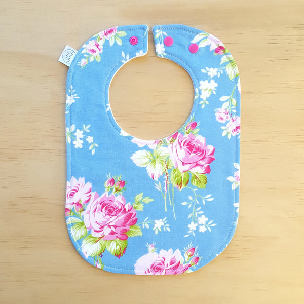 Bright Blue Floral Baby Bib - Lullaby Riot