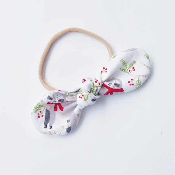 Christmas Sloth Bow Headband - Lullaby Riot