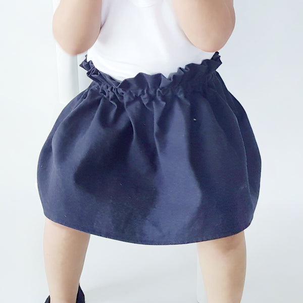 Linen High Waisted Skirt - Navy - Lullaby Riot