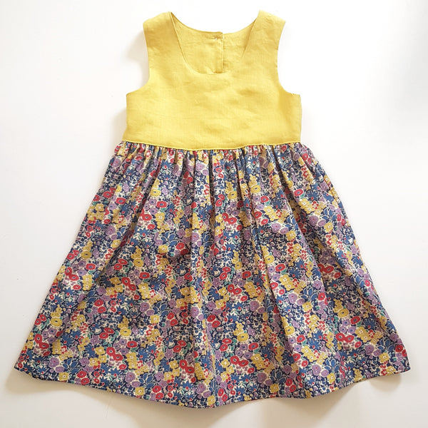 Mustard and Floral Dress - Size 7 only - Lullaby Riot