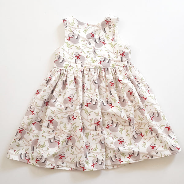 Christmas Sloth Dress - Size 2 only - Lullaby Riot