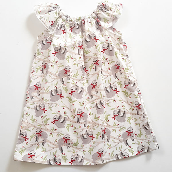 Christmas Sloth Seaside Dress - Size 2 only - Lullaby Riot