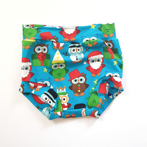 Christmas Owls Nappy Cover - Size 0 only - Lullaby Riot