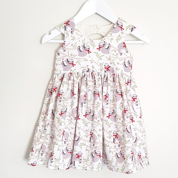 Christmas Sloth Dress - Size 1 only - Lullaby Riot