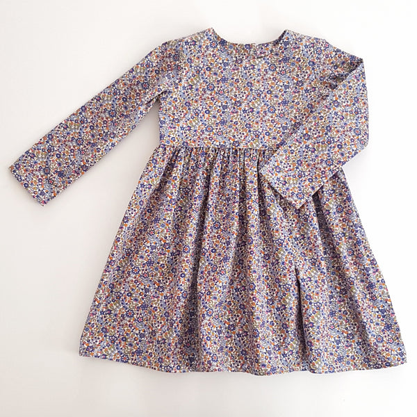 Navy Floral Long Sleeve Dress - Size 3 only - Lullaby Riot