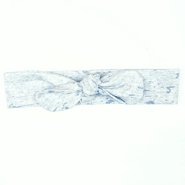Blue and Mottled Grey Bow Headband - Lullaby Riot