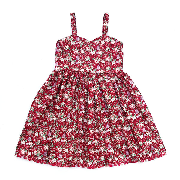 Amelie Red Christmas Floral Dress - Lullaby Riot