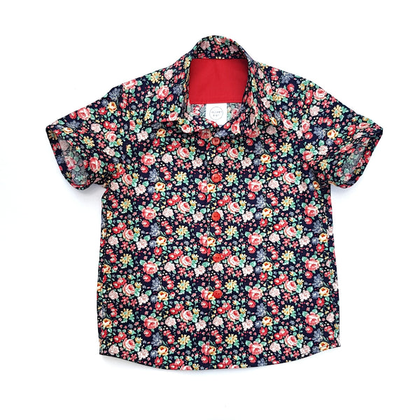 Navy Christmas Floral Shirt - Lullaby Riot