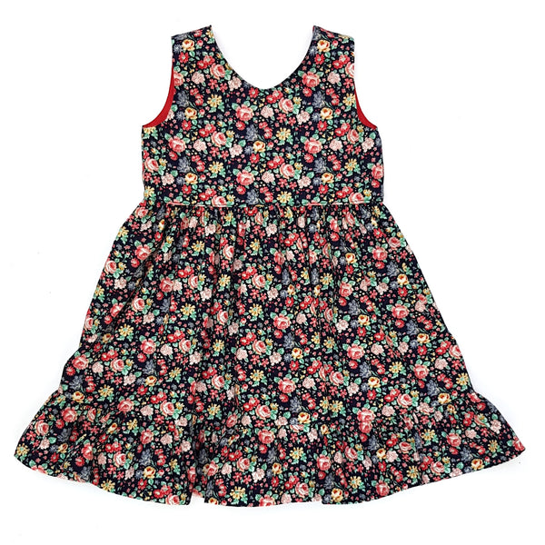 Charlotte Navy Christmas Floral Dress - Lullaby Riot
