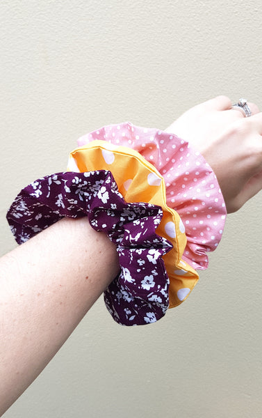 Plum Floral Scrunchie - Lullaby Riot