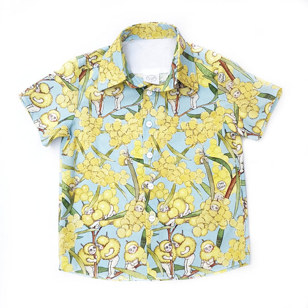 May Gibbs Blue Blossom Shirt - Sizes 4 and 6 only - Lullaby Riot