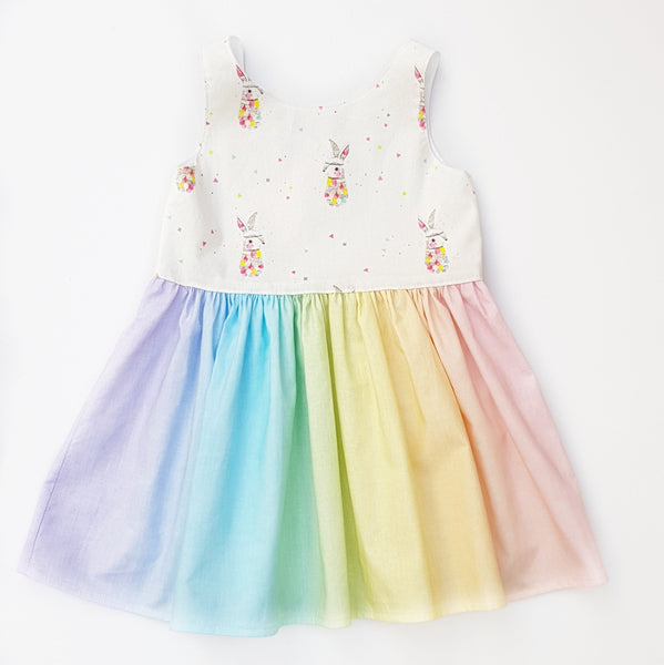 Pastel Rainbow Rabbit Dress - size 2 only - Lullaby Riot