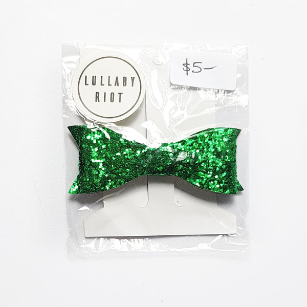 Green Glitter Bow Clip - Lullaby Riot