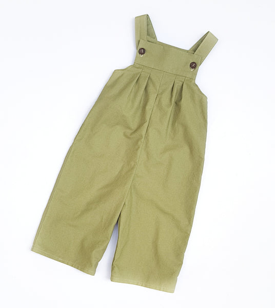 Cactus Green Cotton Overalls - sizes 1 and 2 only - Lullaby Riot