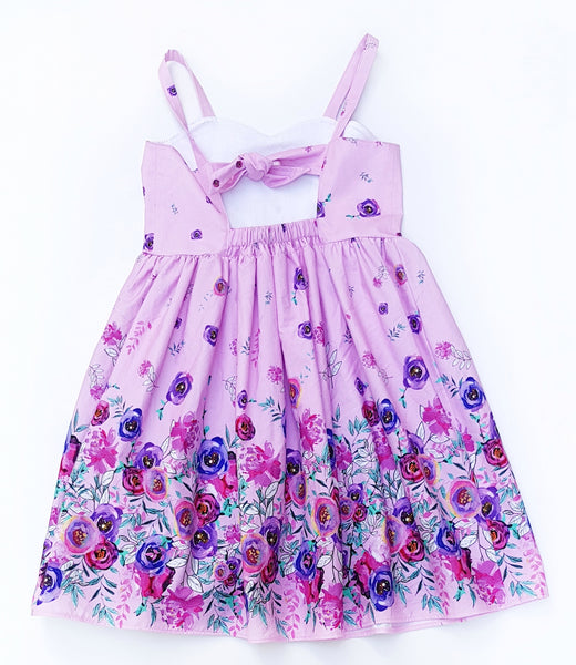 Pink Border Floral Dress - Sizes 7 only - Lullaby Riot