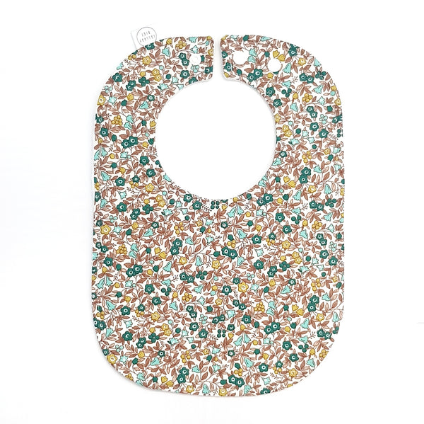 Teal Floral Baby Bib - Lullaby Riot