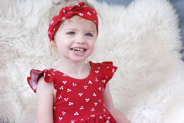 Red Bow Headband - Organic Cotton - Lullaby Riot