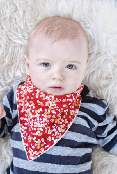 Red and Gold Bandana Bib - Lullaby Riot
