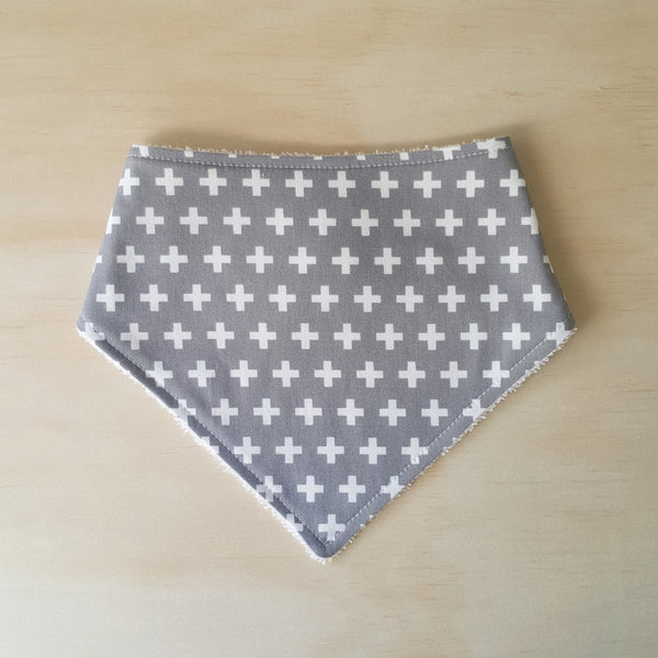 Grey Swiss Cross Bandana Bib - Lullaby Riot
