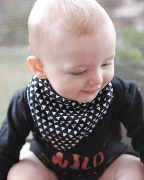 Geometric Triangles Black Bandana Bib - Lullaby Riot