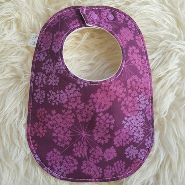 Purple Floral Baby Bib - Lullaby Riot