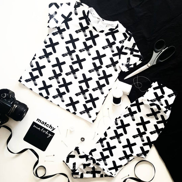 Monochrome Cross T-Shirt - Organic Cotton - Size 1 only - Lullaby Riot