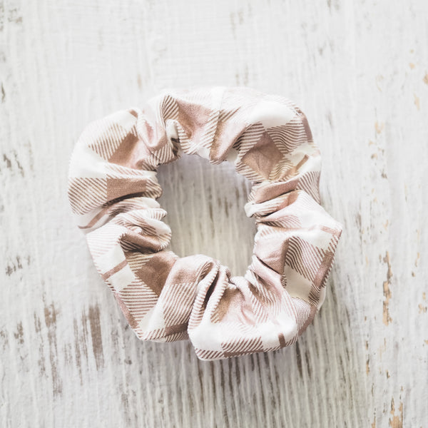 Rose Gold Check Scrunchie - Lullaby Riot