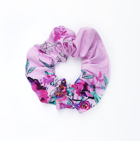 Pink Border Floral Scrunchie - Lullaby Riot