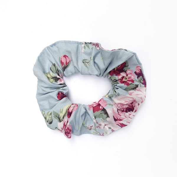 Soft Blue Floral Scrunchie - Lullaby Riot