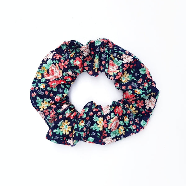Navy Floral Scrunchie - Lullaby Riot