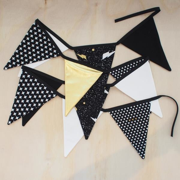 Black, White and Gold Bunting - Lullaby Riot
