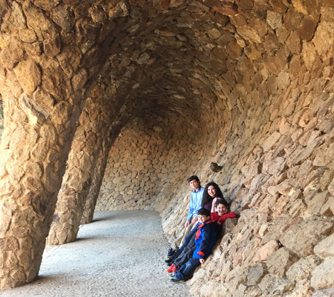 Kids in Park Guell by Gaudi