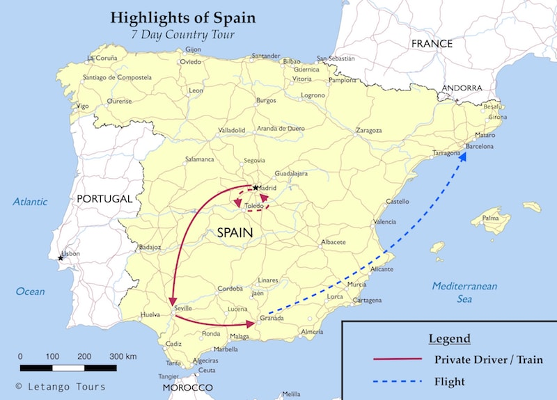 Small Map Of Spain.Country Highlights 7 Days In Spain