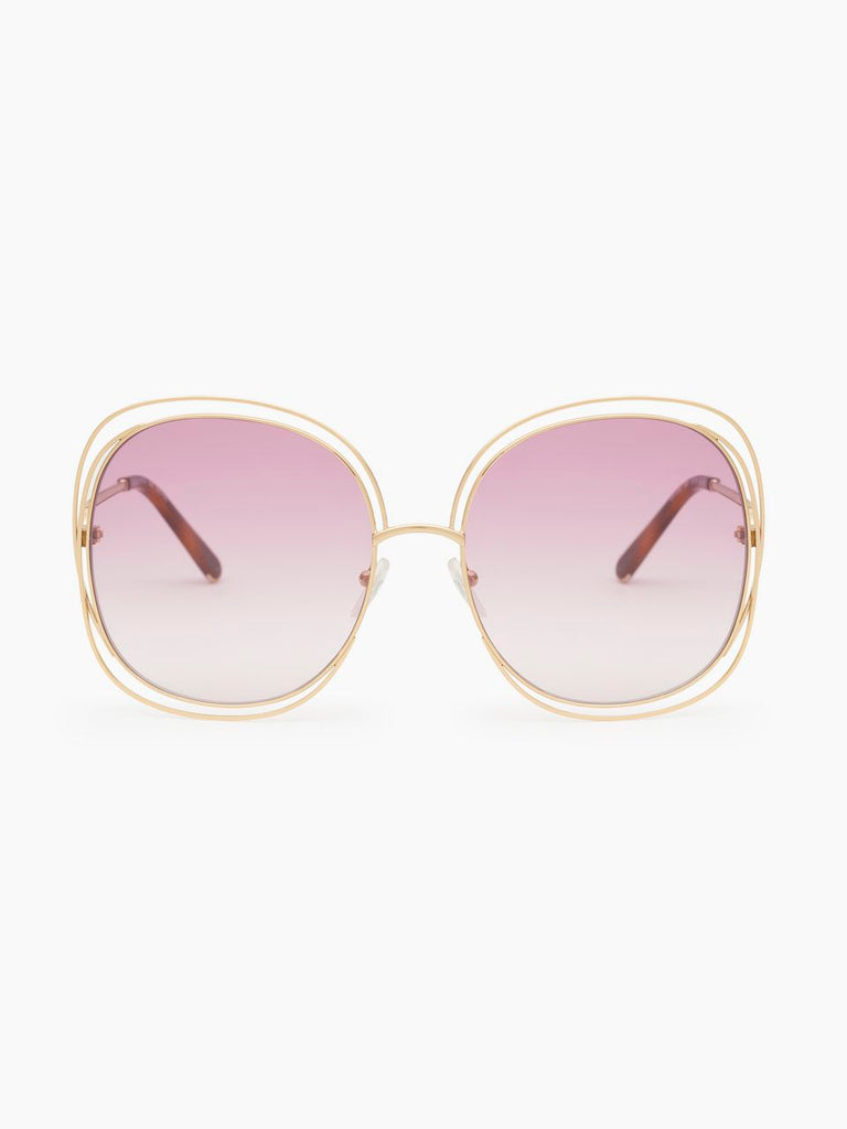 Chloe Carlina square sunglasses in metal