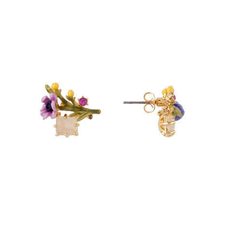 Les Nereides Purple Flower Earring