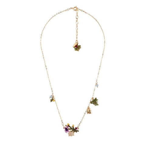 Les Nereides Purple Flower Necklace
